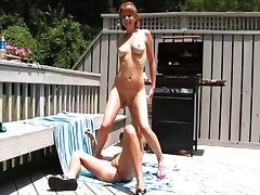 BBQing her tight pussy tube porn video