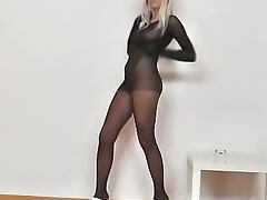Nathaly nylon suit and mask tube porn video