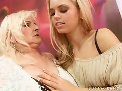 Beautiful Lesbian Teen Strapon Fucking a Horny Granny tube porn video