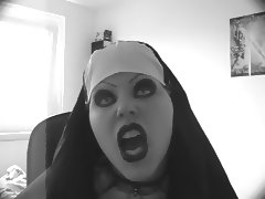 Sexy evil nun lipsync tube porn video