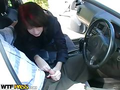 Fiery Pickup Redhead BJs in the Car and Gets Fucked Against a Tree tube porn video