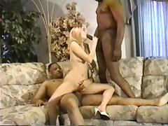 Skinny wife is fucked for two very big black cock tube porn video