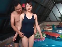 Asian sex doll in plastic pool gets tits and cunt teased tube porn video