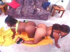 Ass to ass lesbo scene with busty BBW ebony slut tube porn video
