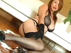 Sexy Asian Kianna gets banged and cummed on her nylons tube porn video