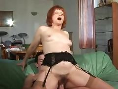 Redhead Granny loves giving her stud a rim job tube porn video