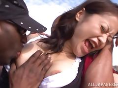 Japanese girl gets fucked by two Black guys at the beach tube porn video