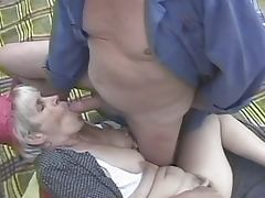 Slutty hairy grandma screwed outdoors tube porn video