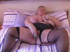BBW Huge Tits British Blonde Fingers on Bed tube porn video