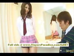 Risa Tsukino Asian girl in waitress uniform enjoys sucking huge cock tube porn video