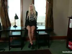 Lovely Riley Evans gets her ass destroyed in bondage video tube porn video