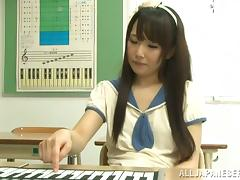 Asian teen in school uniform gets fucked by her piano teacher tube porn video