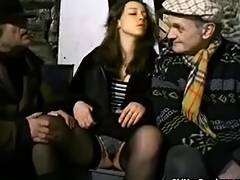 Homeless warm up in a 3 way tube porn video