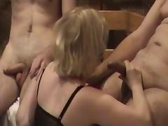 Russian Blonde Slut Wife Gang Bang tube porn video