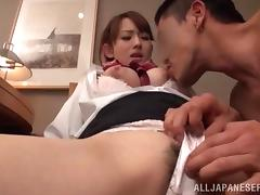 Horny Japanese stewardess gets fucked in hot CFNM vid tube porn video