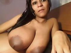 Playing with my big tits on video tube porn video