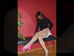 Trannygirl shooting in sexy Heels and Pantyhose tube porn video