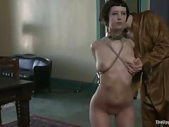 Her hands are handcuffed from behind and she is naked tube porn video