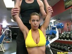 Busty beauty Jasmine gets amazingly fucked in a gym tube porn video