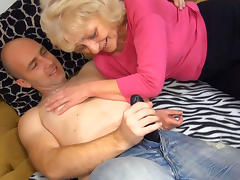 Blonde granny takes black fake cock tube porn video