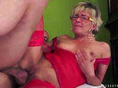 Skinny blonde granny gets fucked and facialed and enjoys it tube porn video