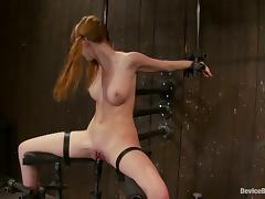 Redhead hottie Marie McCray gets her cunt toyed in BDSM vid tube porn video
