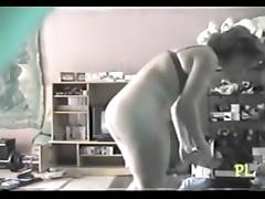 Sweet milf in bra watching TV and masturbating hotly tube porn video