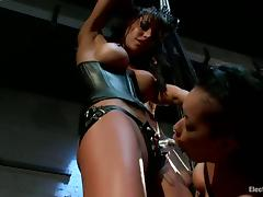 Hanging Brunette Skin Diamond Strapon Fucked by Gia Dimarco in BDSM Vid tube porn video