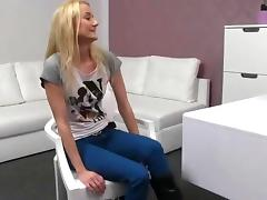 Small tits blonde fucked on couch on her casting tube porn video