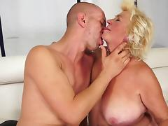 Fat granny is fucking in the bedroom tube porn video
