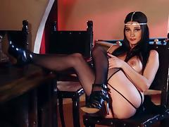 Brunette Playboy model poses in lingerie and stockings tube porn video