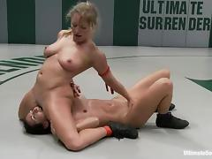 Sexy blondie is enjoying a total domination over her opponent tube porn video