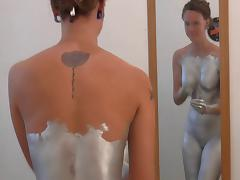 Silver Body Paint Sex and Solo-trailer tube porn video