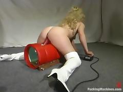 Divine blond siren is being penetrated by a machine tube porn video