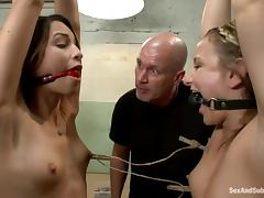 Amber Rayne and her GF get tormented and banged by Mark Davis tube porn video