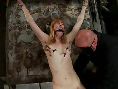 Mallory Mallone moans loudly while being tortured in a basement tube porn video