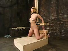 The bondage device has a dildo to fuck Jenni Lee tube porn video