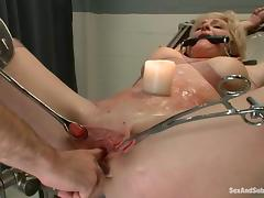 Sexy blonde girl gets bounded and fucked in prison hospital tube porn video