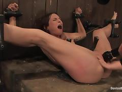Amber Rayne gets their way ass pounded in a big toy while in thongs tube porn video