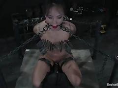 Clothespinned added to chained Jandi Lin gets toyed firm tube porn video
