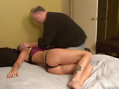 Tied up Brandy Aniston gets toyed by sex machine in a bedroom tube porn video