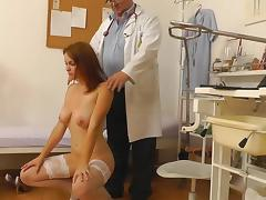 Sensual babe in stockings is fucking with doctor tube porn video