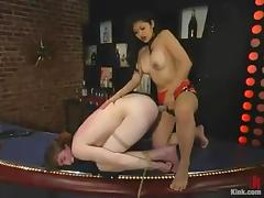 Mika Tan tortures a guy and toys his ass in a bar tube porn video
