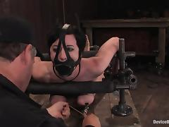 Bounded and gagged Cherry Torn gets toyed from behind tube porn video