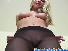 Nylon fetish babe rubbing her pussy tube porn video