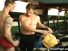 Two Hot Muscled Studs at the Gym Stuff Each Others Holes! tube porn video