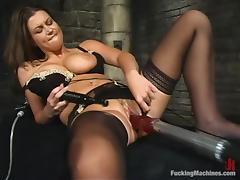 Gorgeous Sara Stone gets toyed by relentless fucking machine tube porn video