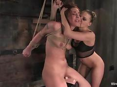Submissive Nikki Nievez gets electrified and toyed in femdom tube porn video