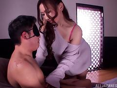 Ai Sayama sits on a blindfolded guy's head tube porn video
