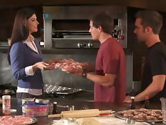 Brunette Cougar India Summer Gets A Nasty Threesome In The Kitchen tube porn video